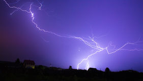 Storm sky with lgihting at night royalty free stock photo
