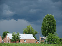 Storm sky over the village in the summer Royalty Free Stock Photography