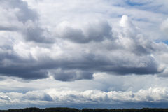 Storm sky, rainy clouds over horizon Royalty Free Stock Photo