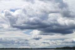 Storm sky, rainy clouds over horizon Royalty Free Stock Images