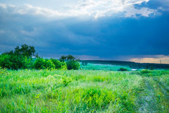 Storm sky under a summer meadow Stock Photo