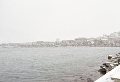 Storm of snow in the harbour of la spezia. Italy stock images