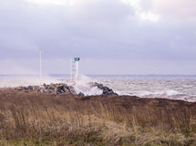 Storm. In the Strait of Oresund royalty free stock photo