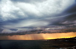 Storm and sunset over Bronte Royalty Free Stock Images
