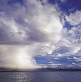 Before the storm, supercell. It is Namtso lake, in the Tibet of China. The height above sea level is about 4700 m.All the mountains cover snow for full yeas Stock Photo