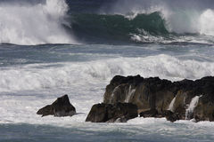 Storm Surf. Eastren Waimea point, Oahu. Waves twenty five feet Stock Images