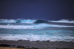 Storm surf surges against Oahu shore. Storm surf from Hurricane Felicia pounds the eastern shore of Oahu the day before the storm arrives Royalty Free Stock Photography