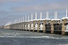 Storm surge barrier. The Dutch storm surge barrier Oosterschelde near Neeltje Jans in The Netherlands stock images