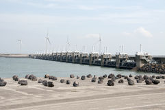 Storm surge barrier in The Netherlands Royalty Free Stock Photo