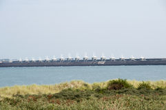Storm surge barrier in The Netherlands. Called the Neeltje Jans. After the hurrican Katrina the USA are very interested in this huge project royalty free stock images