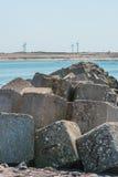 Storm surge barrier Oosterschelde nearby Neeltje Jans in The Net royalty free stock image