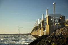 Storm surge barrier in Zeeland. Holland. Build after the storm disaster in 1953 royalty free stock photography