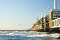 Storm surge barrier in Zeeland Royalty Free Stock Photo