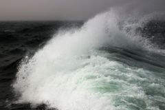Storm surge in the ocean. Ocean wave foam during a storm in the open sea in cloudy weather Stock Image