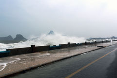 Storm surge a rising of the sea. In Thailand royalty free stock photo