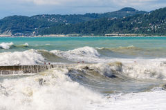 Storm surges and breakwater. Stormy weather Stock Image