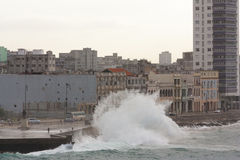 Storm surges in the city. Sea waves are sweeping the city`s waterfront. Children are not afraid to indulge and huge waves Stock Photo