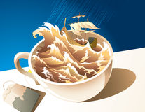 "A storm in a teacup. Illustration for proverb ""A storm in a teacup"": storm, shipwreck, cup of tea and teabag on the table under the rain, vector Stock Image"