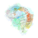 Storm of thoughts in the brain abstract illustration, concept of Royalty Free Stock Images