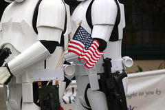 Storm troopers with American flag. Stock Photo