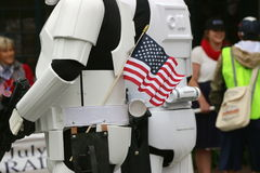 Storm troopers with American flag. Royalty Free Stock Images