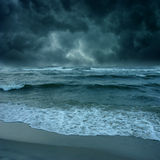 Storm on tthe ocean. Storm - blue colour - with wave in the ocean Royalty Free Stock Photo
