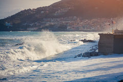 Storm at the Tyrrhenian sea on coast of Sicily Royalty Free Stock Image