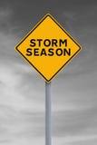 Storm Warning. Modified road sign indicating Storm Season Stock Photo