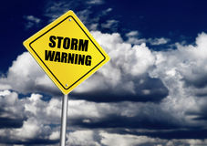 Storm warning road sign Stock Photos