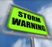 Storm Warning Sign Displays Forecasting Danger Ahead Stock Photography