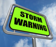 Storm Warning Sign Represents Forecasting Stock Photography
