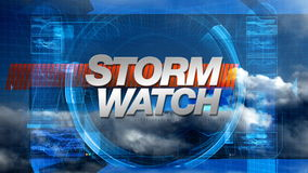 Storm Watch - Broadcast Graphics Title stock footage