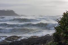Storm watching at Cox Bay Tofino, BC. Big waves crash onto the shore on Cox Bay in Tofino, BC stock photo