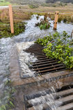 Storm water flows into drain near road Royalty Free Stock Photo