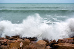 Storm wave, Mediterranean sea Royalty Free Stock Image