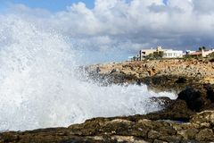 Storm waves at Balearic coast Royalty Free Stock Images