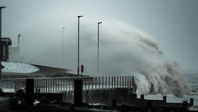Storm waves battering UK coastline Stock Photos