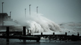 Storm waves battering UK coastline stock photography