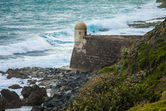 Storm waves crashing against El Morro Stock Photography