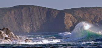Storm waves in eastern coast of Grand Banks in Newfoundland stock photo
