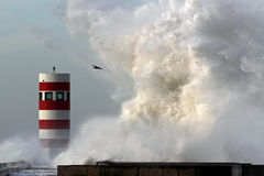Storm waves over lighthouse Royalty Free Stock Photos