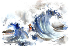 Storm. Waves in a stormy sea covered lighthouse vector illustration
