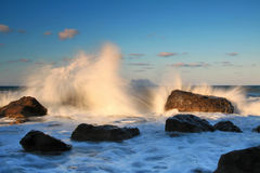 Storm waves on the sunrise. At ocean Royalty Free Stock Images