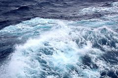 Storm waves in the world ocean. Kind of waves, crests, splashes, foam against the background of the sea and blue sky. Storm waves in the world ocean. Kind of royalty free stock photos