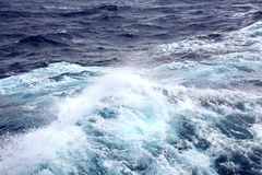 Storm waves in the world ocean. Kind of waves, crests, splashes, foam against the background of the sea and blue sky. Storm waves in the world ocean. Kind of stock image