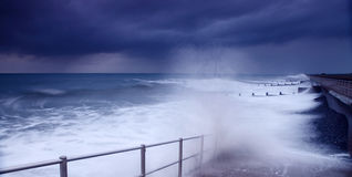 Storm weather crashing waves Stock Image