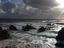 Storm on the wild coast in Loire Atlantique. November 2012 Royalty Free Stock Image