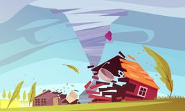 Storm Wind House Composition. Natural disasters outdoor composition with living house on storm flat images of sky and environment vector illustration stock illustration