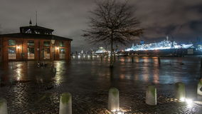 Storm Xaver floods the Port of Hamburg Royalty Free Stock Photo