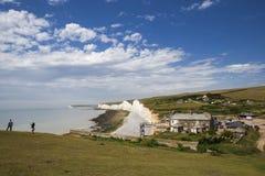 Storma att brygga över de sju systrarna i Sussex på Juni 12, 2008 Arkivbild